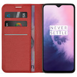Leather Wallet Case & Card Holder Pouch for OnePlus 7 - Red